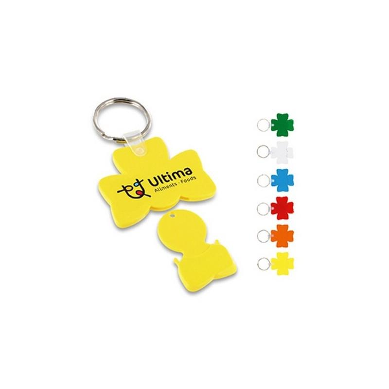 Porte-cles jeton trefle anneau 25 mm à prix grossiste - Porte-clés jeton à prix de gros