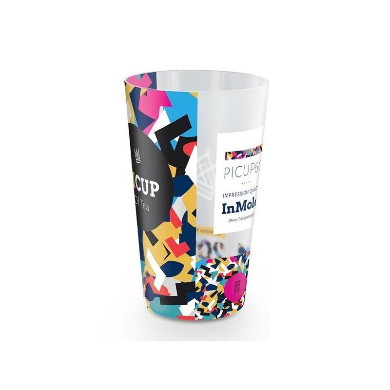 Gobelet plastique reutilisable 60 cl avec decor quadri in-mold à prix de gros - Gobelet à prix grossiste