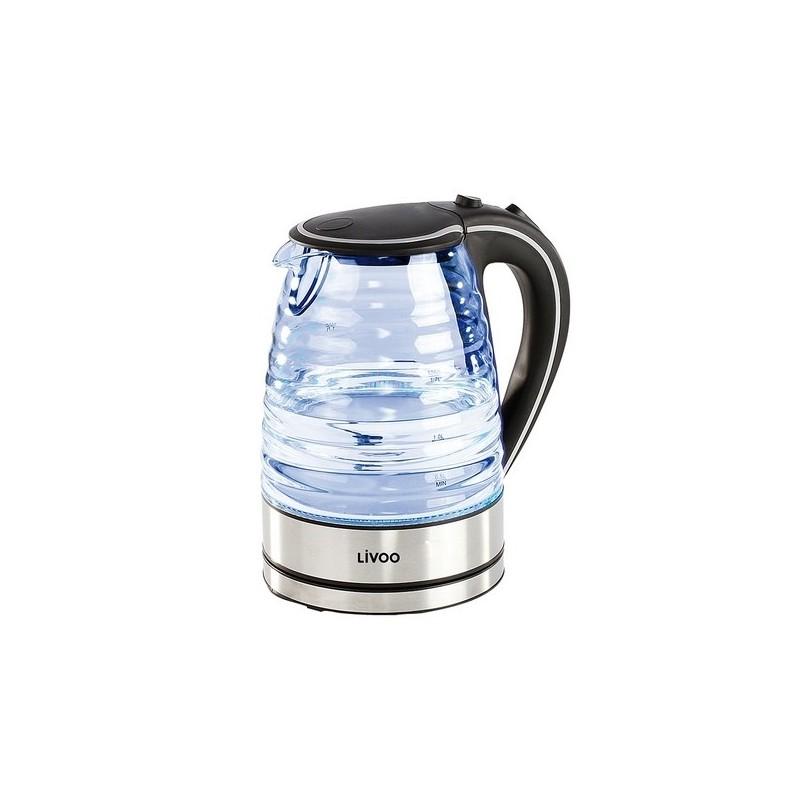 Bouilloire en verre 1,7 L noire à prix de gros - Bouilloire à prix grossiste