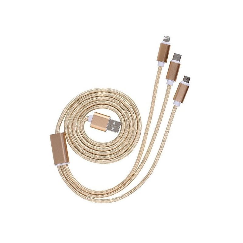 Câble USB 3 en 1 Doré à prix de gros - Cable de charge à prix grossiste