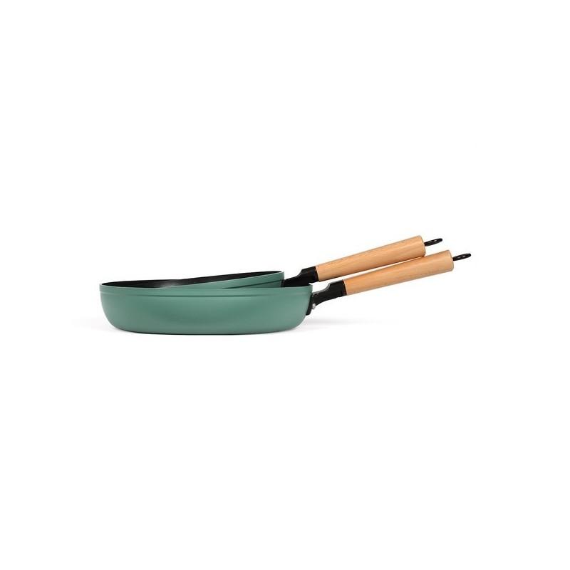 LIVOO - Set de 2 poêles poignées bois - Ustensile de cuisine à prix grossiste