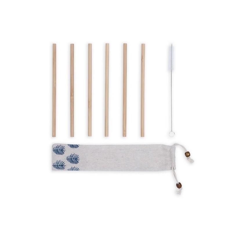Set de 6 pailles en bambou - paille à prix grossiste