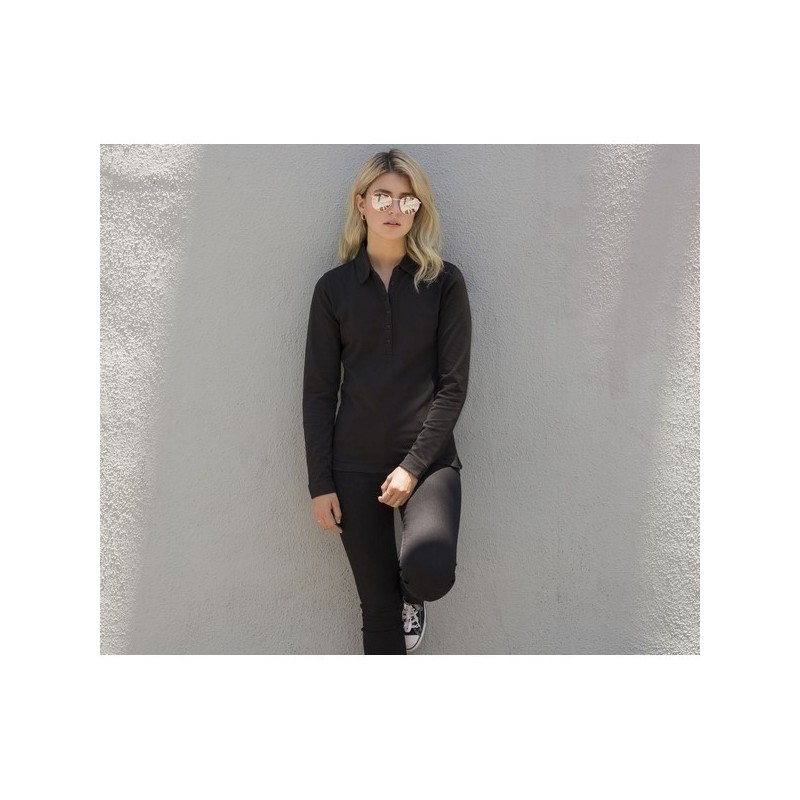 LONG SLEEVES STRETCH POLO - Polo femme stretch manches longues - Polo manches longues à prix de gros