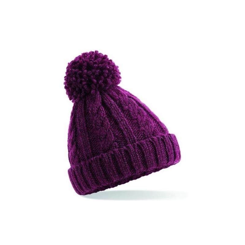 Junior Cable Knit Melange Beanie - Bonnet enfant en laine à prix de gros - Article pour enfants à prix grossiste