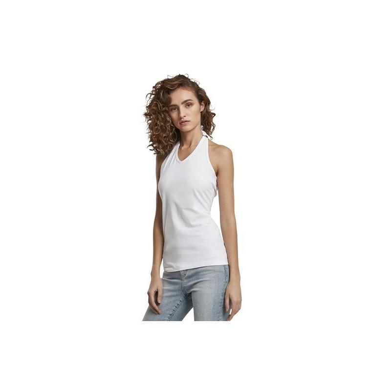 Ladies Neckholder Shirt - T-shirt femme tour de cou - Blanc à prix grossiste - T-shirt femme à prix de gros