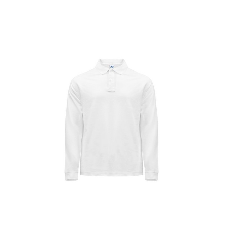 Polo Regular Man Long Sleeves - Polo manches longues homme - Blanc - Polo manches longues à prix grossiste