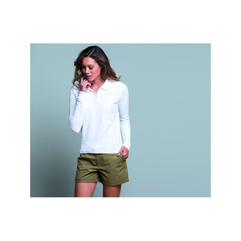 Polo Regular Lady Long Sleeves - Polo manches longues femme 200 - 3XL - Polo manches longues à prix de gros