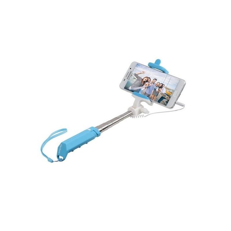 Mini perche télescopique selfie bleu à prix grossiste - Perche à selfie à prix de gros