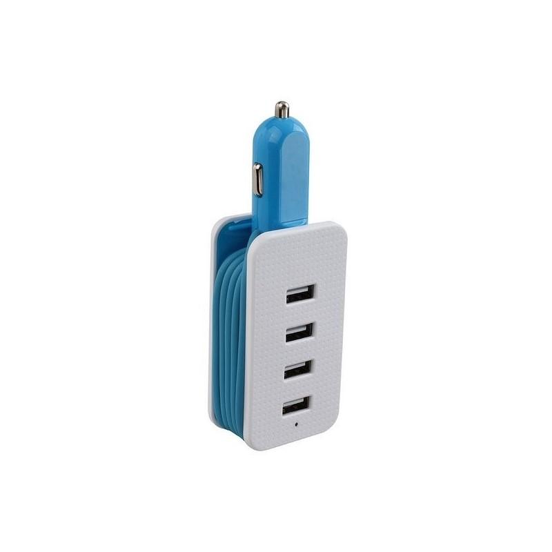 Adaptateur allume-cigare 4 USB bleu à prix de gros - Prise allume-cigare à prix grossiste
