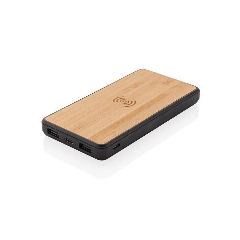 Batterie de secours 8000 mAh en bambou à induction 5W - Produit en bois à prix de gros