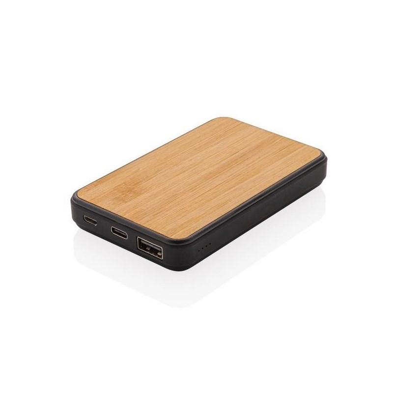 Batterie de secours de poche 5000 mAh en bambou - Produit en bois à prix grossiste