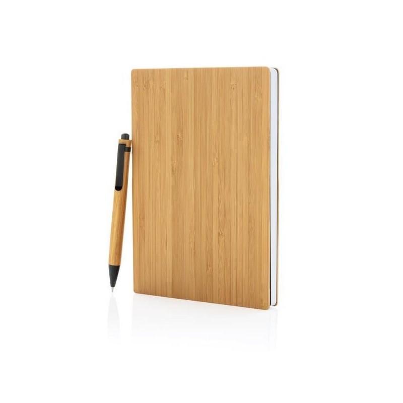 Set carnet de notes A5 et stylo en bambou à prix grossiste - Petite fourniture diverse à prix de gros