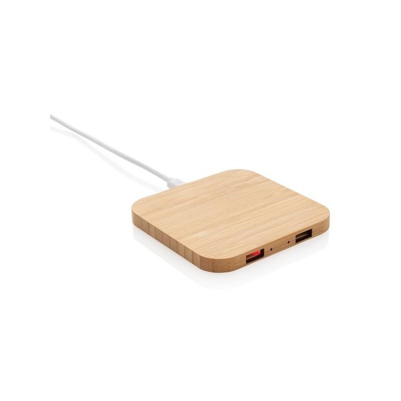 Chargeur à induction 5W en bambou avec double port USB - Produit en bois à prix grossiste