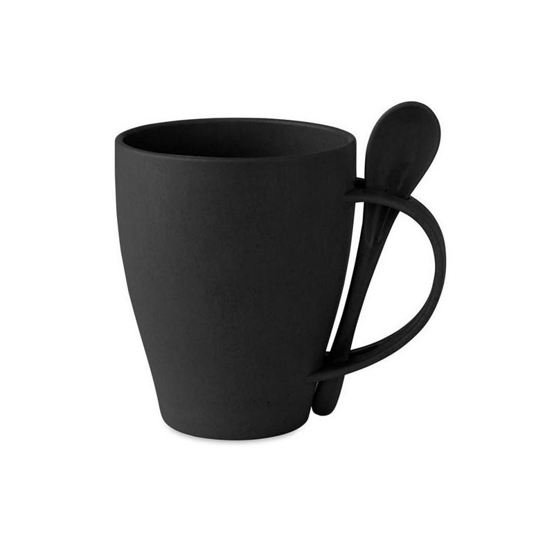 DUAL FIBRE - Mug avec cuillère bambou / PP à prix grossiste - mug en bois à prix de gros