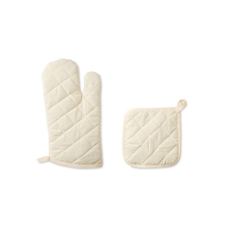 MITTY - Set gant et manique en coton - Gant de cuisine à prix grossiste