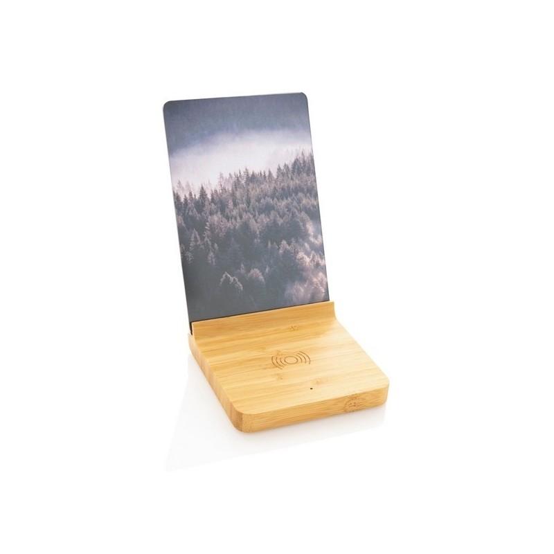 Cadre photo avec chargeur sans fil 5W en bambou à prix de gros - Cadre photo à prix grossiste