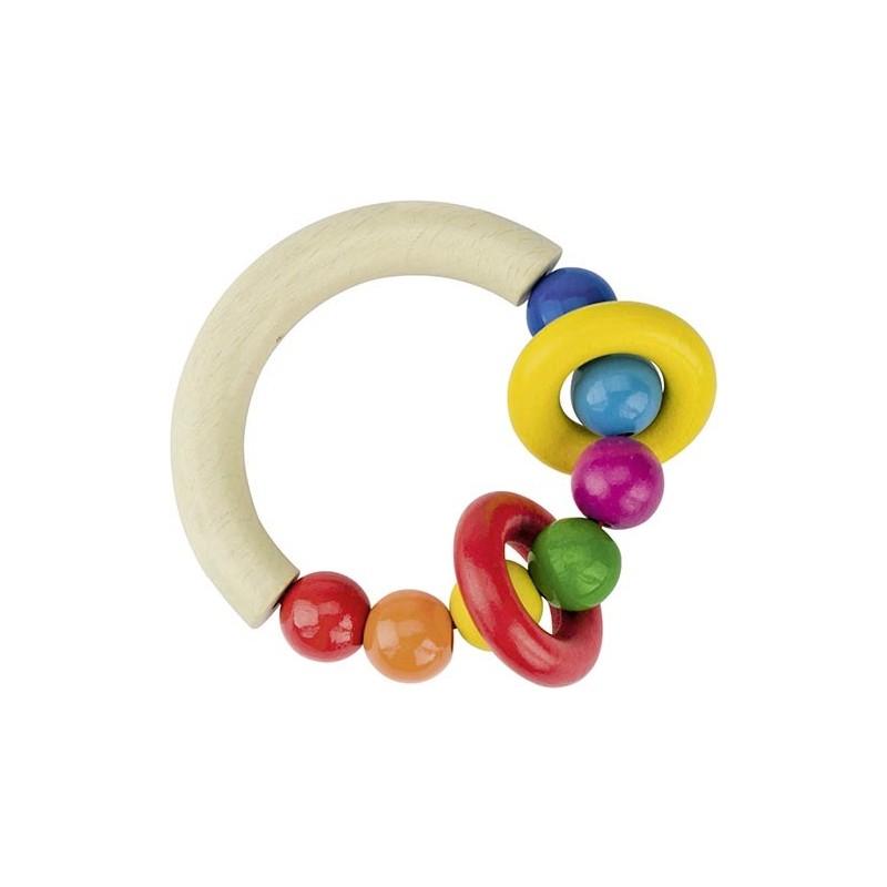 Hochet demi-cercle avec perles et 2 anneaux - hochet à prix grossiste