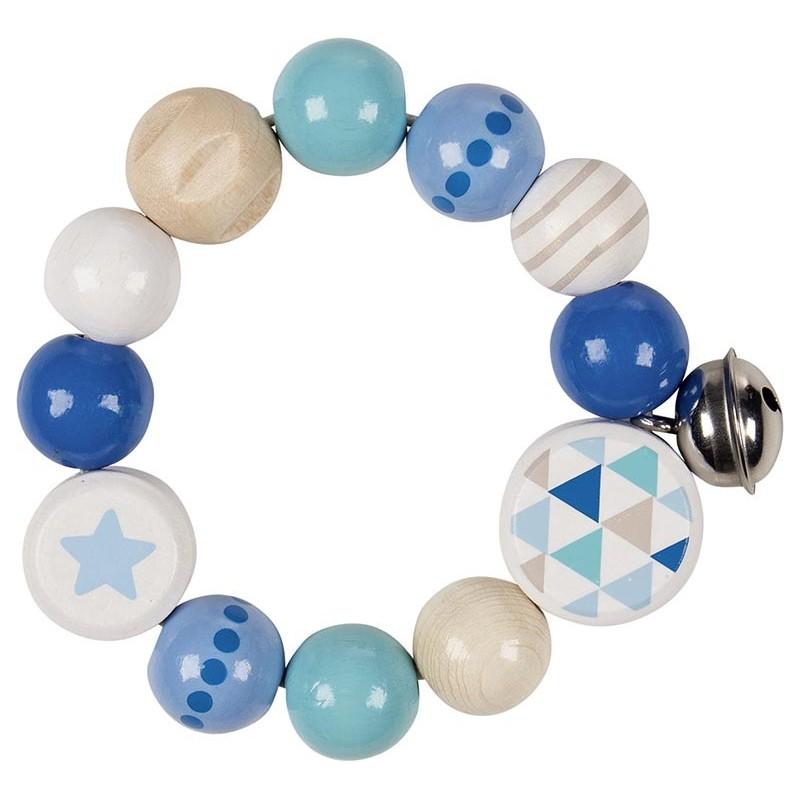 Hochet élastique avec étoile, bleu à prix grossiste - hochet à prix de gros