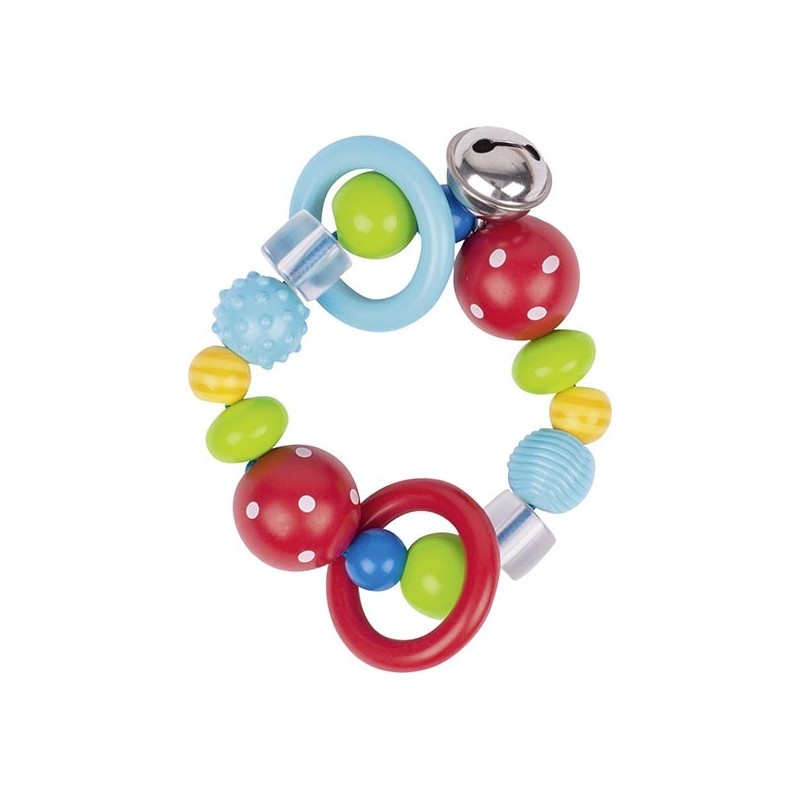 Hochet élastique perles rouges à pois blancs - hochet à prix grossiste