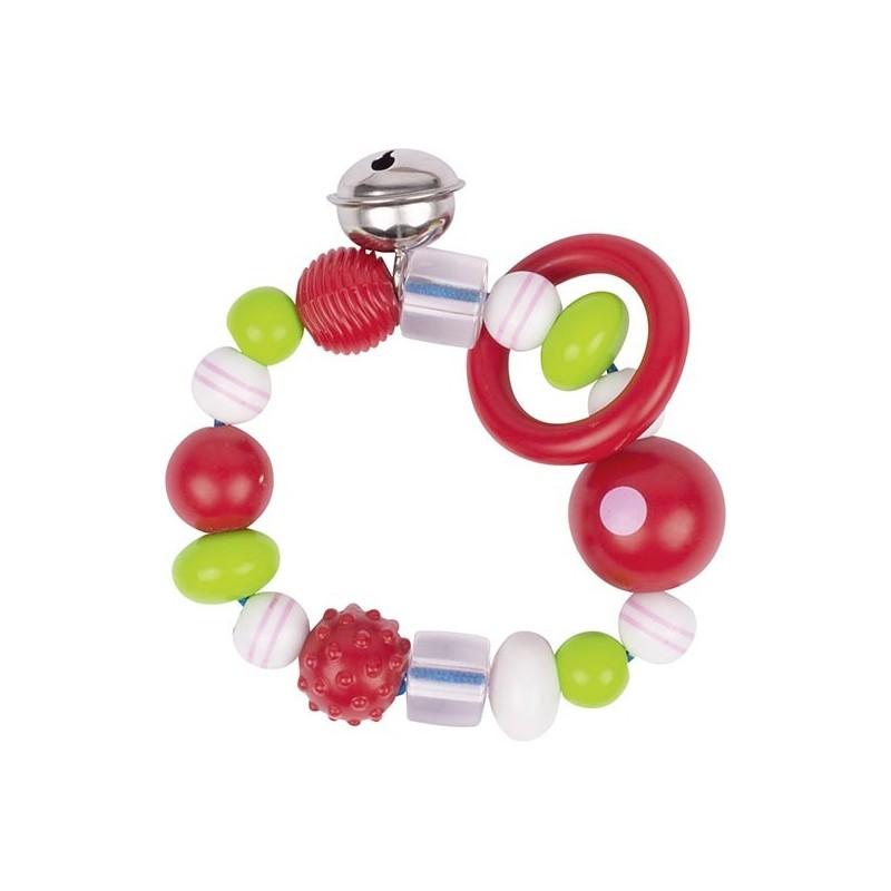 Hochet élastique perle rose rayée à prix de gros - hochet à prix grossiste