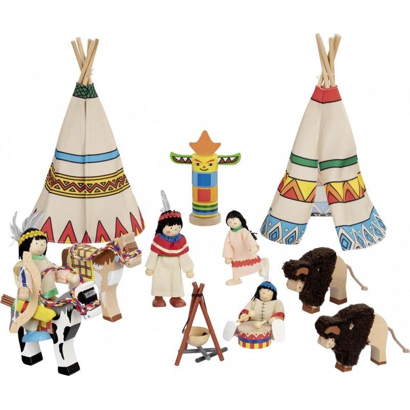 Camp d'indiens, 4 poupées articulées à prix grossiste - poupée à prix de gros