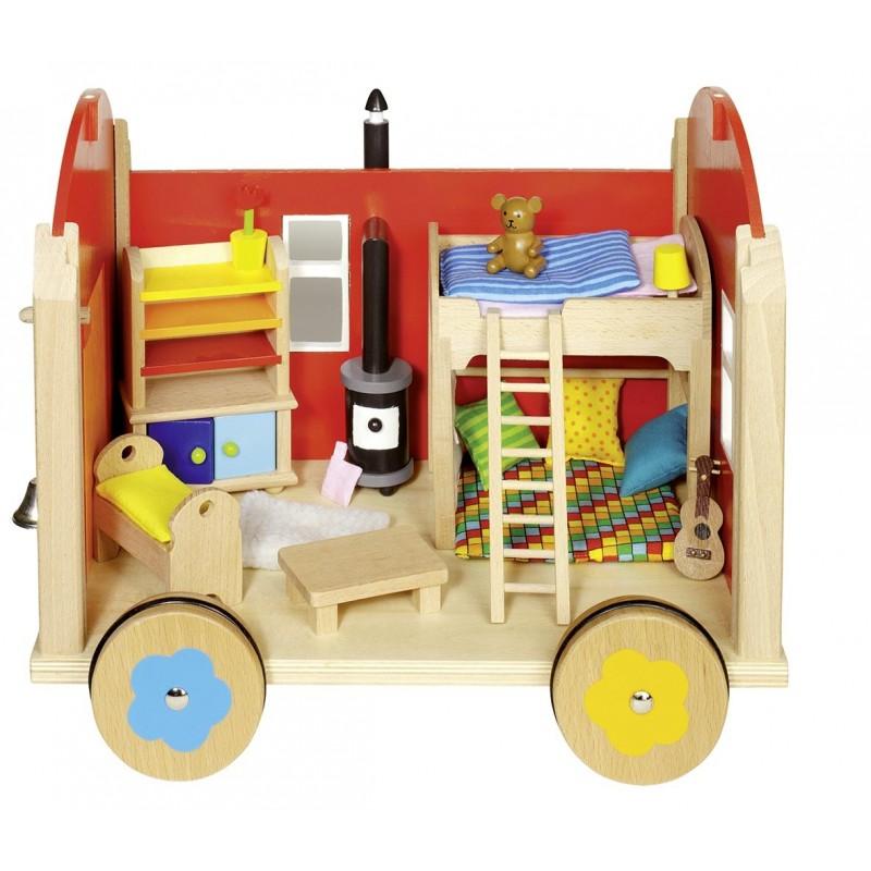 Roulotte pour poupées avec accessoires - maison de poupée à prix grossiste