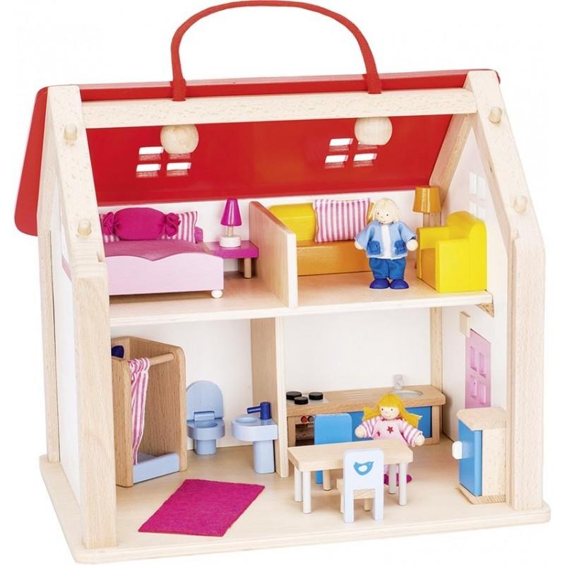 Valise maison de poupées avec accessoires à prix grossiste - maison de poupée à prix de gros