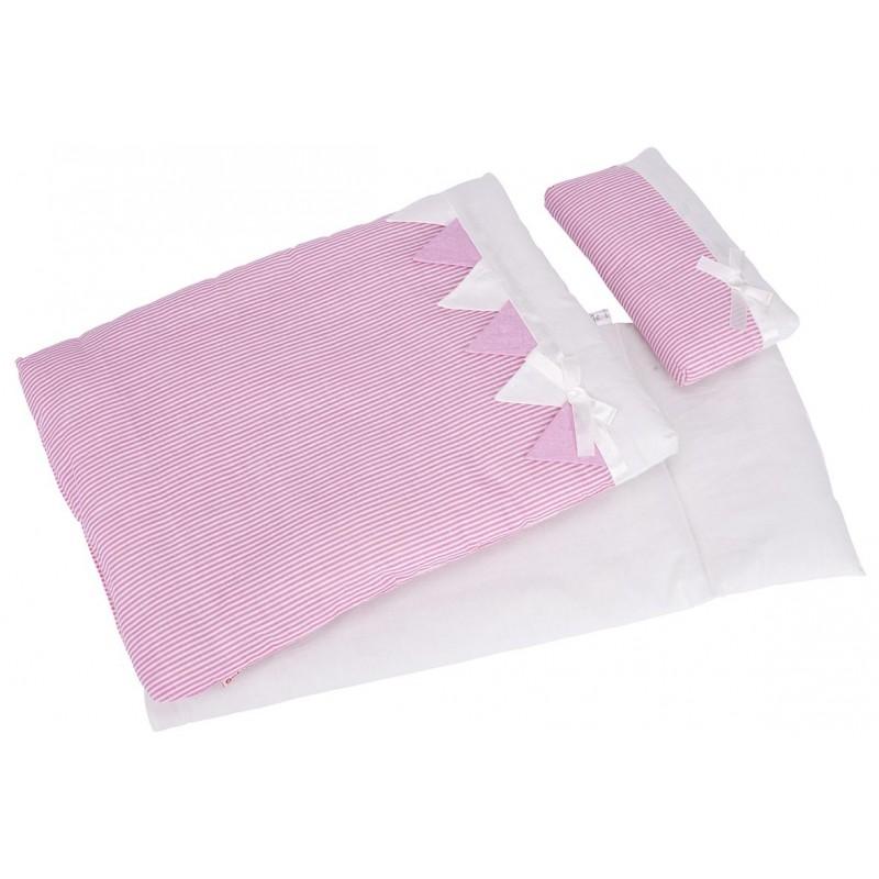 Linge de lit pour poupées, rayé rose - accessoires de poupées à prix de gros