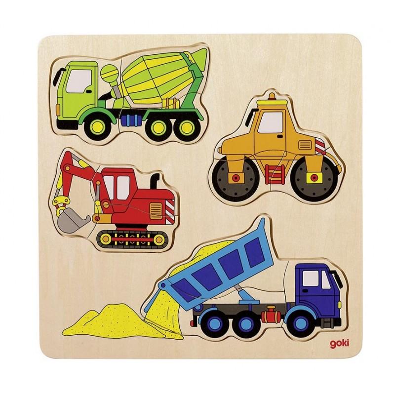 Véhicules de chantier, puzzle à encastrements - puzzle à encastrement à prix grossiste