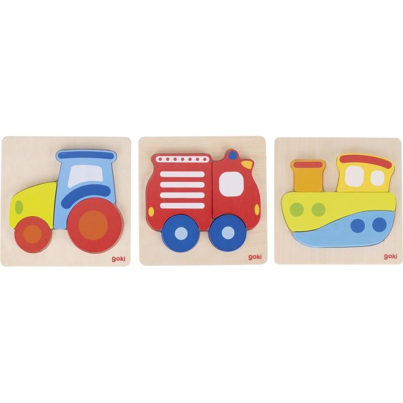 Puzzle tracteur, bateau, camion de pompiers à prix de gros - puzzle en bois à prix grossiste