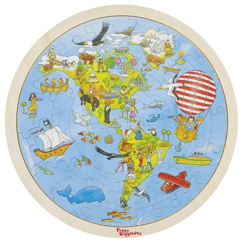 Puzzle, Tour du monde, Peggy Diggledey à prix grossiste - puzzle en bois à prix de gros
