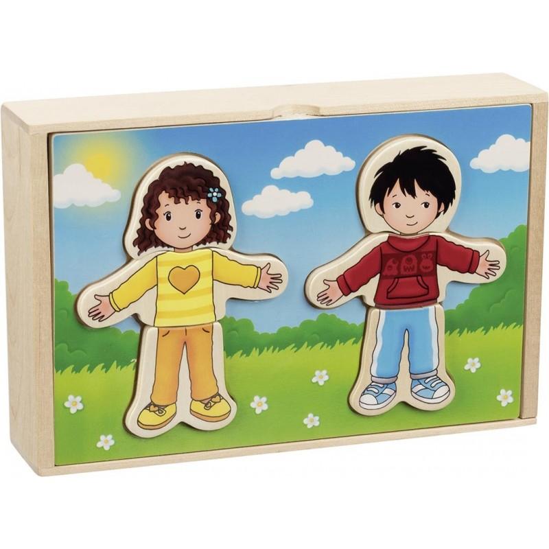 Puzzle à habiller - Garçon et fille en coffret bois - puzzle en bois à prix de gros