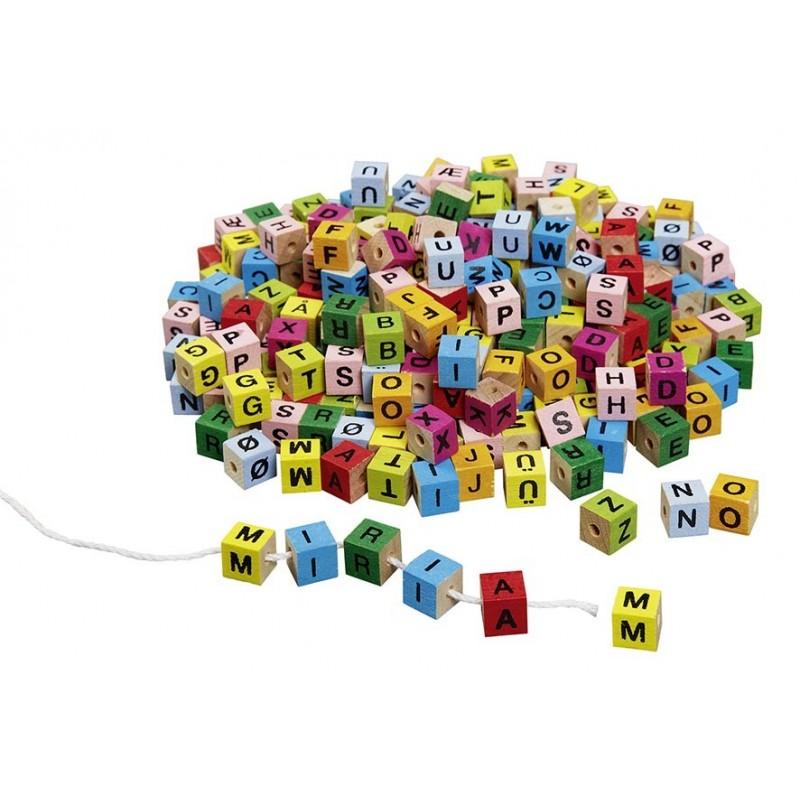 Cubes de lettres, colorés, à enfiler à prix de gros - Cube à prix grossiste