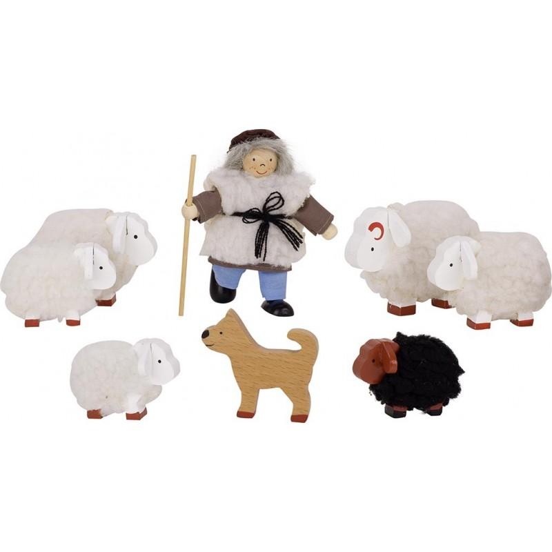 Berger et son troupeau, poupée articulée - poupée à prix de gros