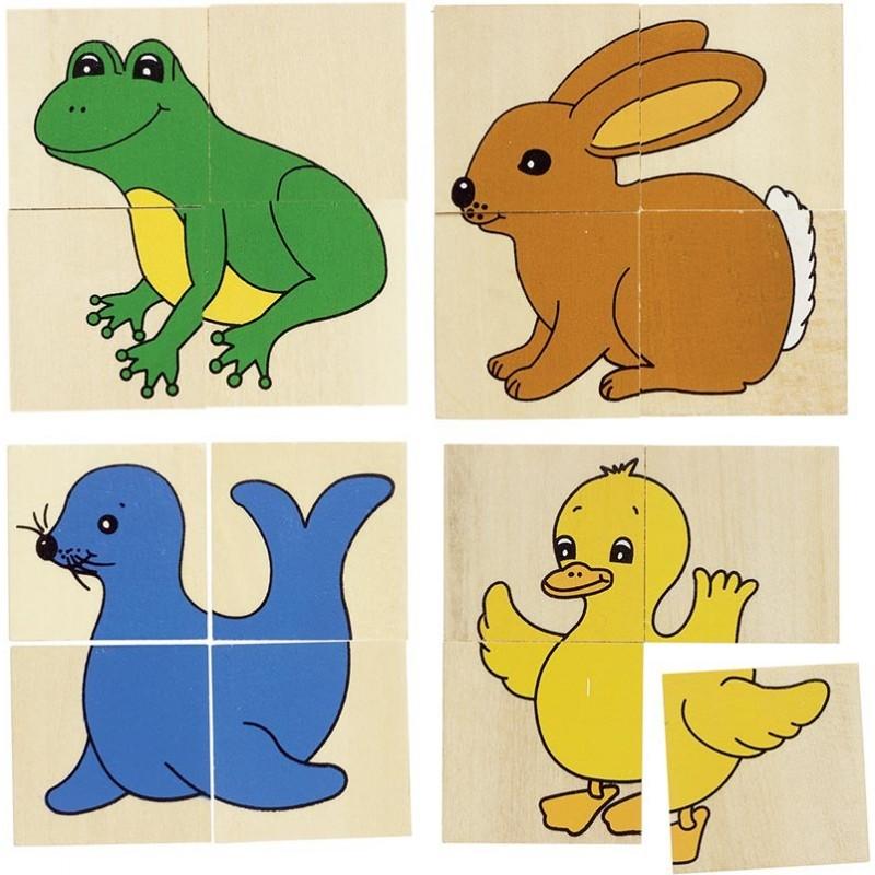 Karémo, puzzle et mémo, 5 animaux différents - Puzzle à prix de gros
