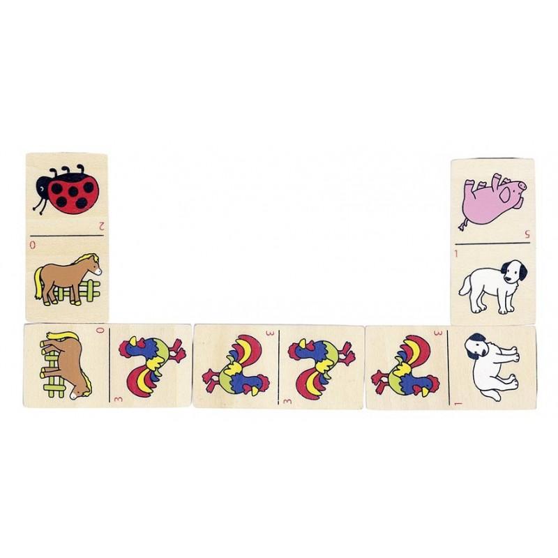 Dominos des animaux, boîte en bois à prix de gros - Jeu de domino à prix grossiste