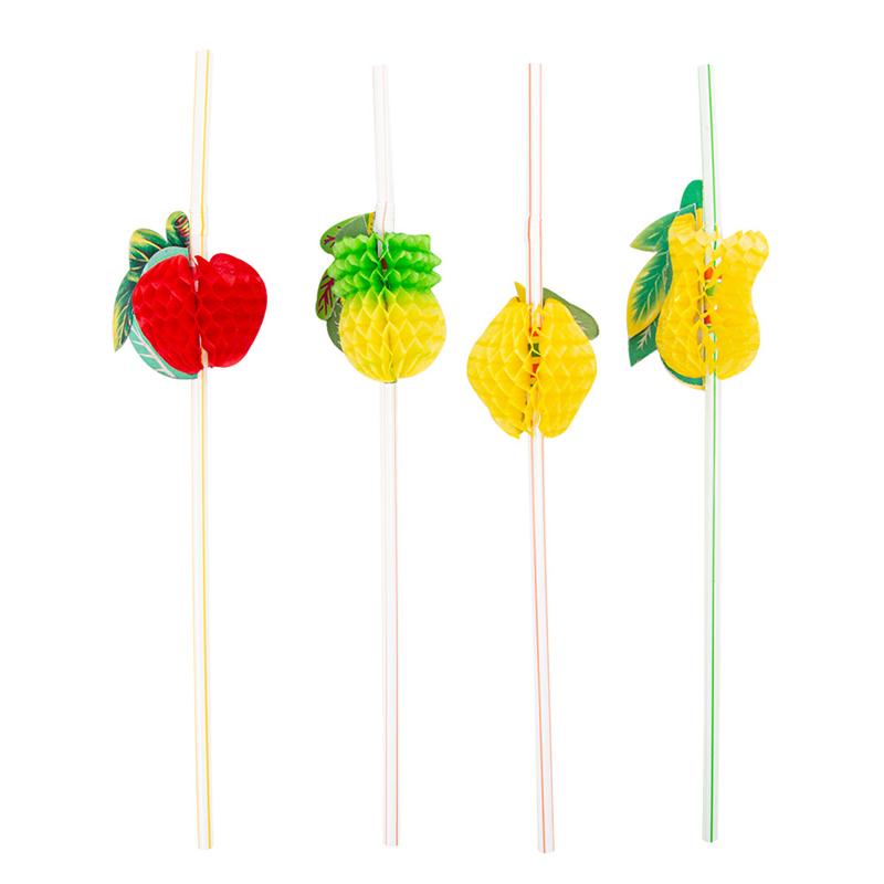 Lot de 100 Pailles Décorées Flexibles Fruits - paille à prix grossiste