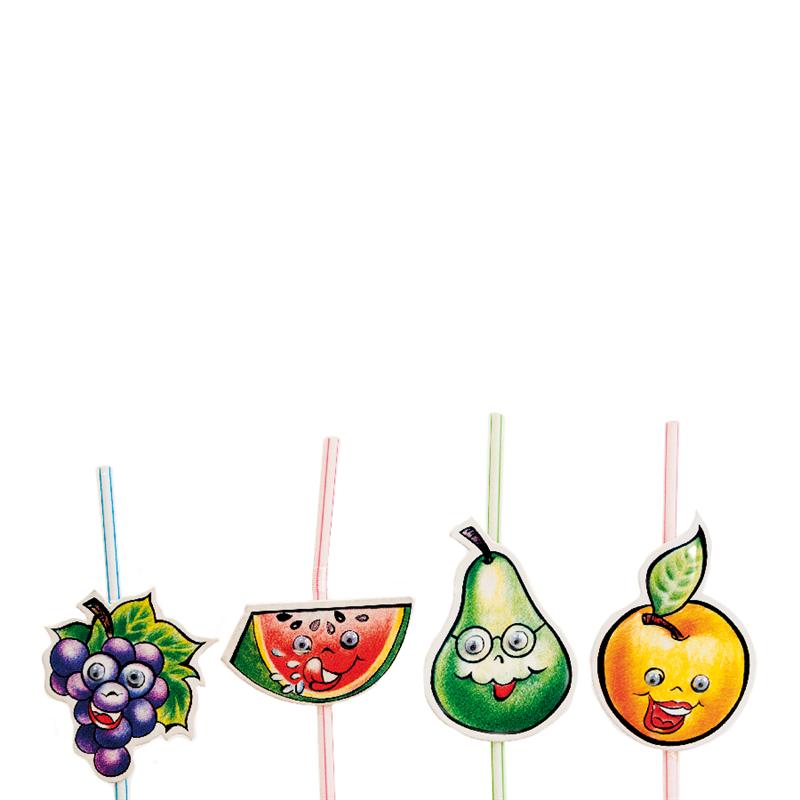 Lot de 1000 Pailles Décorées Flexibles - Fruits à prix de gros - paille à prix grossiste