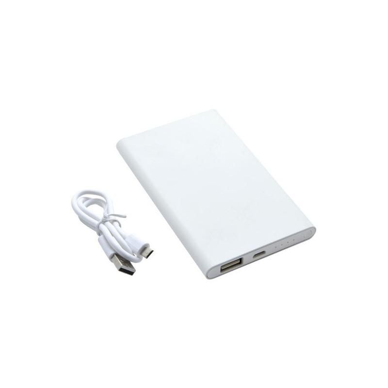 Chargeur nomade 'City', 4000mAh, aluminium blanc à prix grossiste - Powerbank / batterie externe à prix de gros