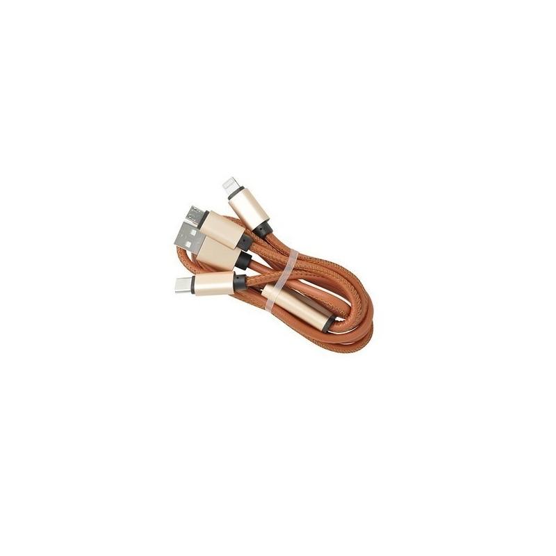 Cable 3 en 1 'Heathrow', 1m, simili cuir noir à prix de gros - Cable de charge à prix grossiste