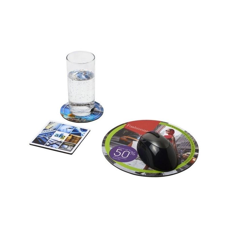 Ensemble de tapis de souris et de dessous de verre Q-Mat 4 - Q-Mat - Tapis de souris à prix grossiste