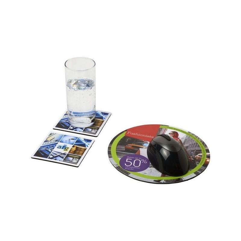 Ensemble de tapis de souris et de dessous de verre Q-Mat 6 - Q-Mat - Tapis de souris à prix de gros