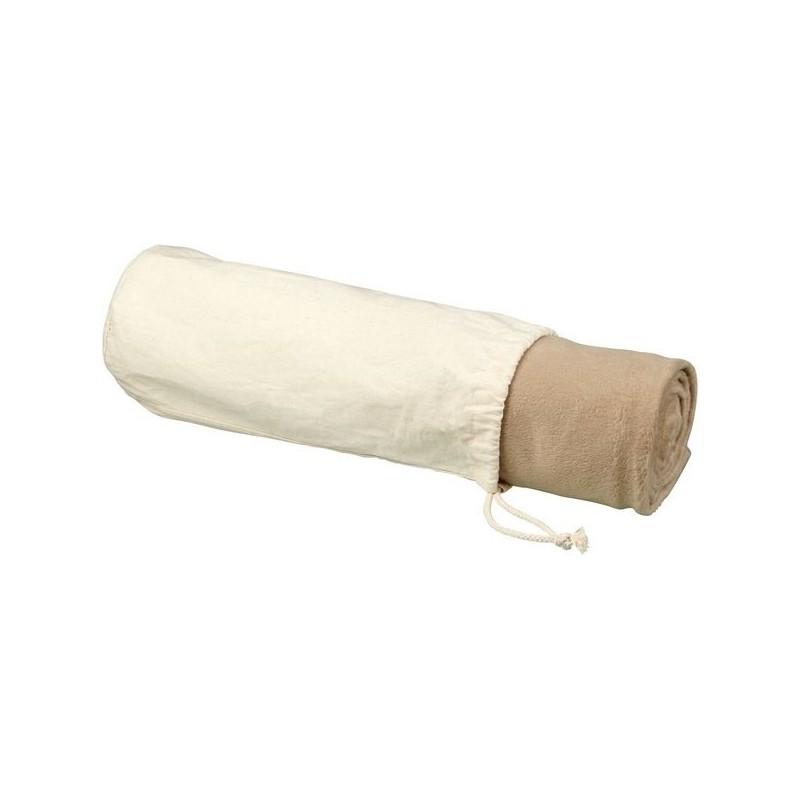 Couverture polaire micro peluche RPET Aira avec pochette en coton - Avenue - Plaid à prix grossiste