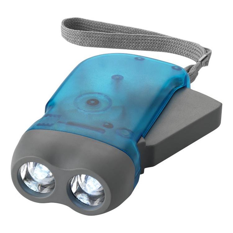 Lampe torche dynamo double LED avec sangle poignet Virgo - Lampe torche à prix de gros