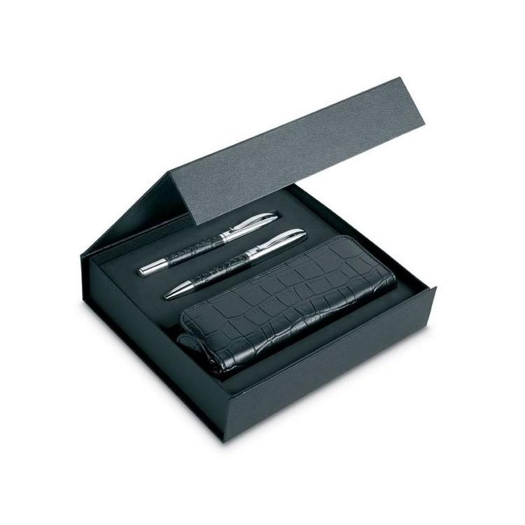 Set élégant motifs croco à prix grossiste - Parure de stylos à prix de gros