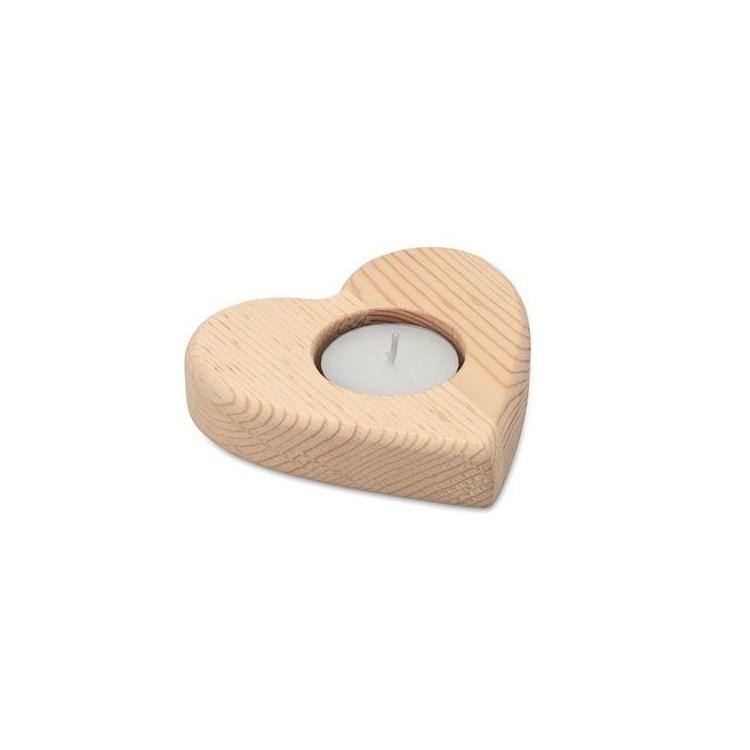 TEAHEART - Bougeoir forme de cœur - Produits en bois à prix grossiste
