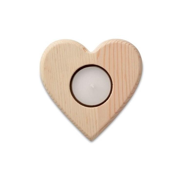 TEAHEART - Bougeoir forme de cœur - Produit en bois à prix grossiste
