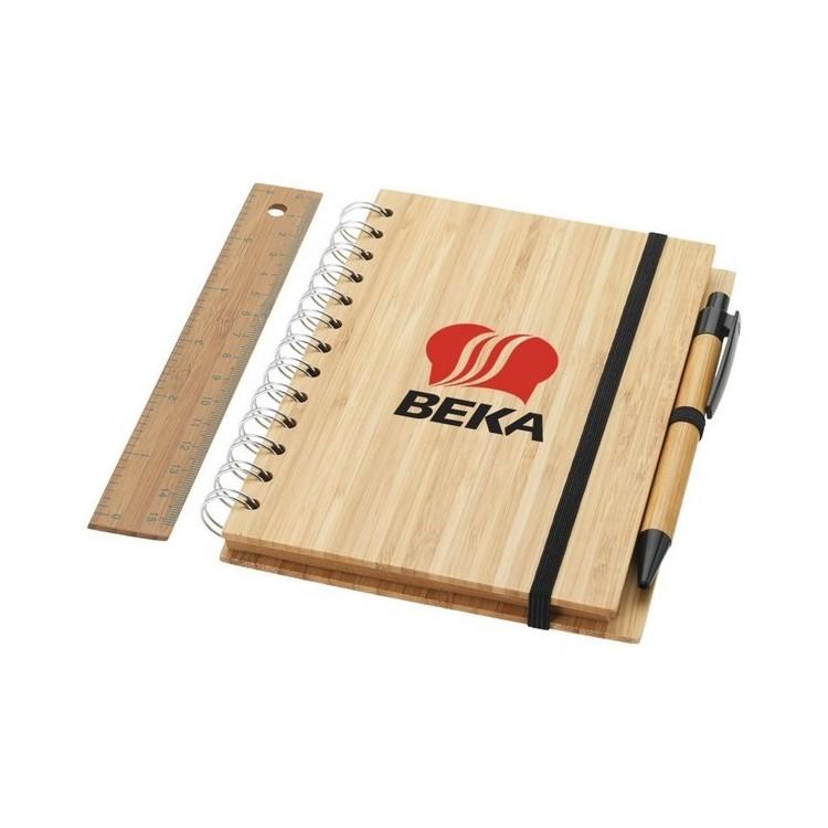 Set bloc-notes format B6 en bambou avec stylo et règle Franklin à prix de gros - Article de papeterie écologique à prix grossiste