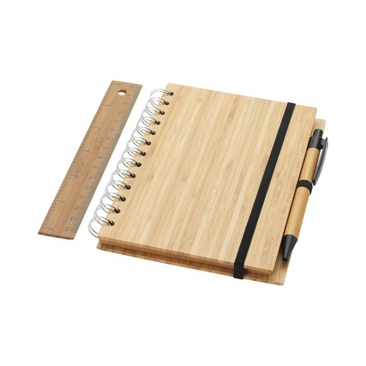 Set bloc-notes format B6 en bambou avec stylo et règle Franklin à prix de gros - Article de papeterie à prix grossiste