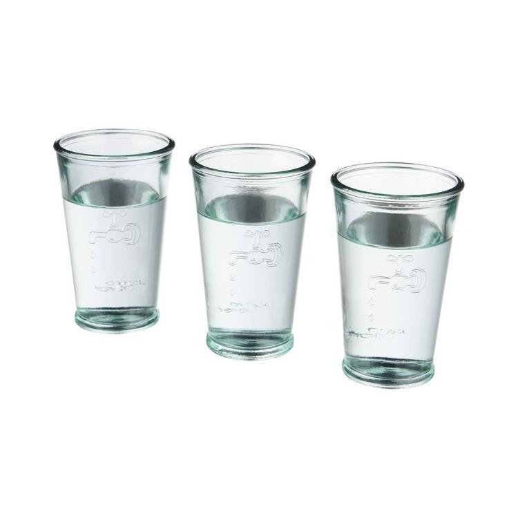 Ensemble Ford de trois verres à eau en verre recyclé à prix grossiste - Verre à prix de gros